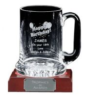 Engraved Glass Tankard